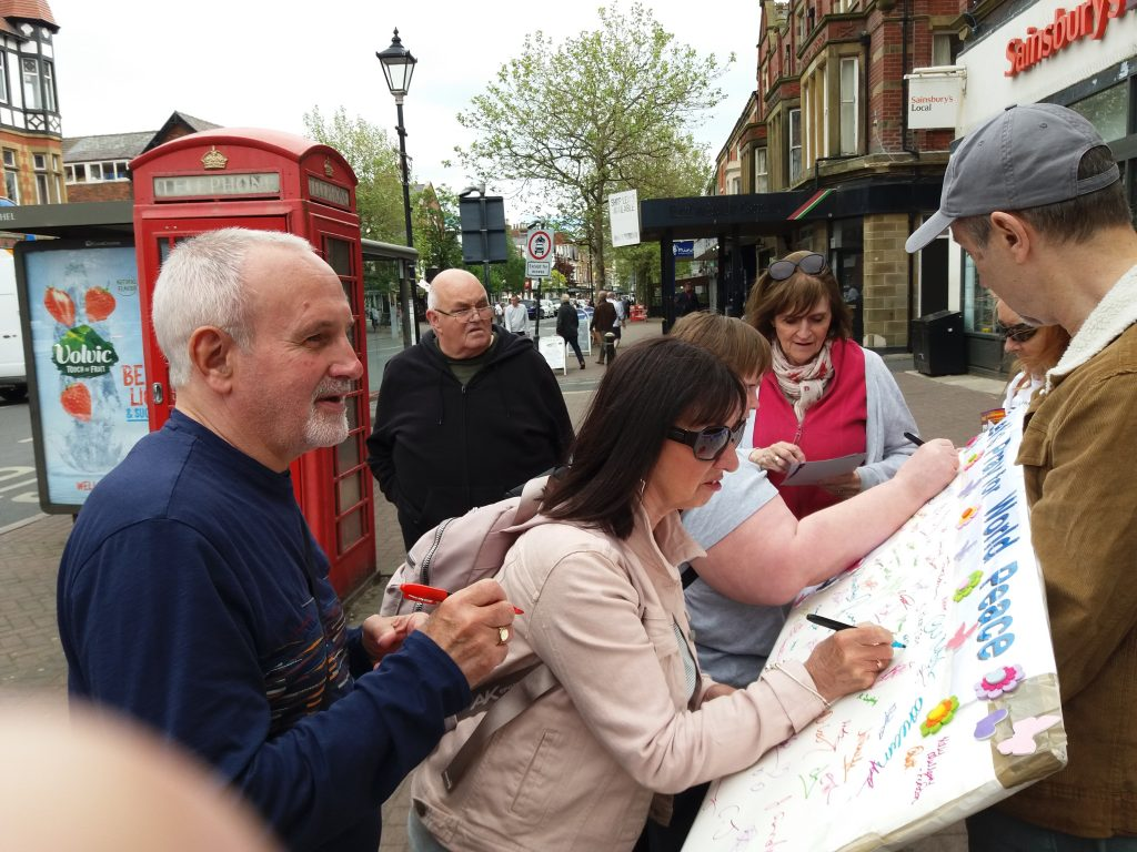 People come to sign asking how we can achieve world peace.  The only answer is Jesus Christ and accepting the peace He obtained for us by dying on the cross to take the punishment for our sins.  Jesus is our peace - He made peace between us and God possible.
